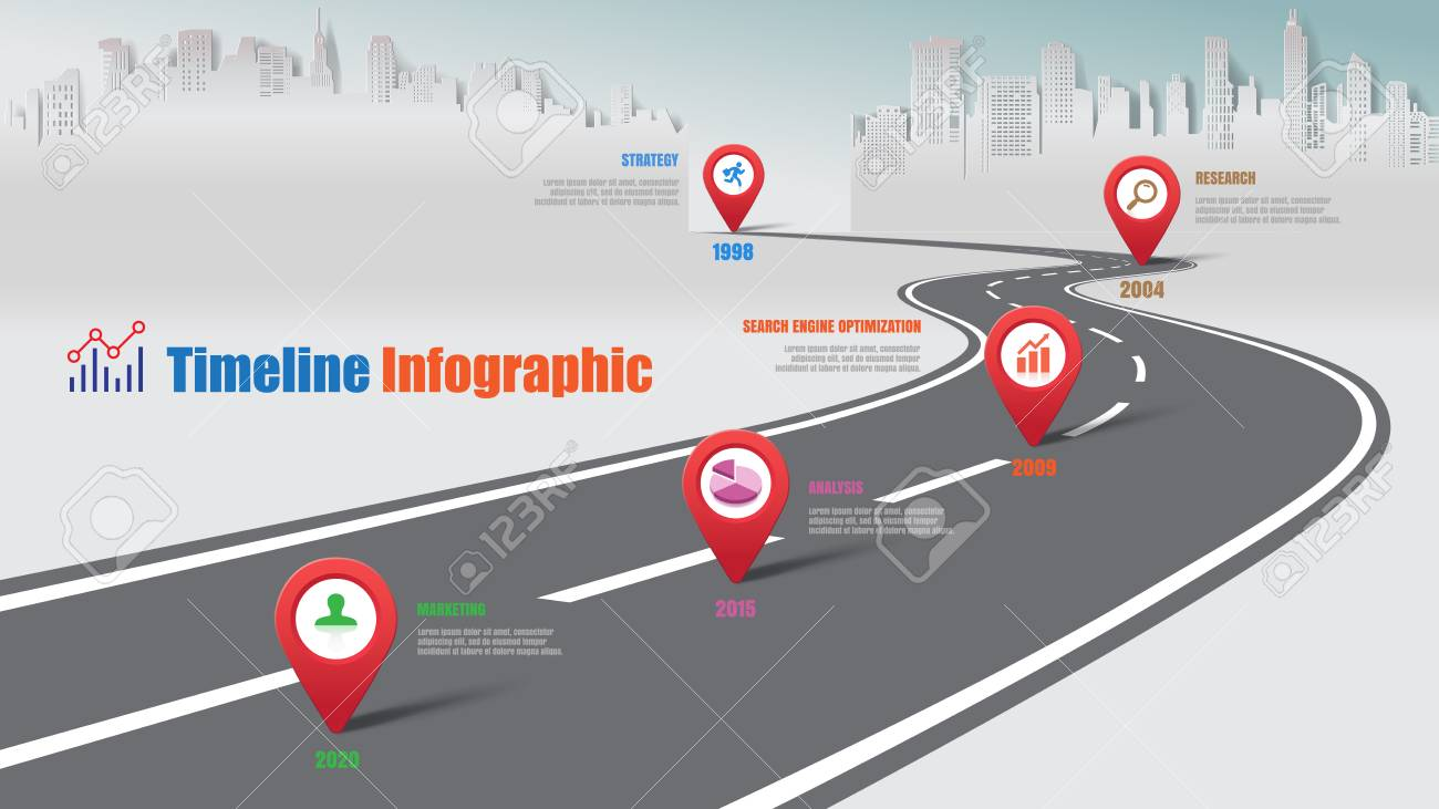Business road map timeline infographic city designed for abstract background template milestone element modern diagram process technology digital marketing data presentation chart Vector illustration - 103768299