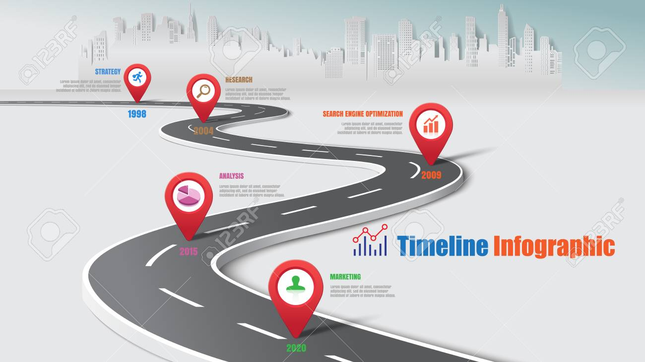 Business road map timeline infographic city expressway designed for abstract background template milestone element modern diagram process technology digital data presentation chart Vector illustration - 103768301