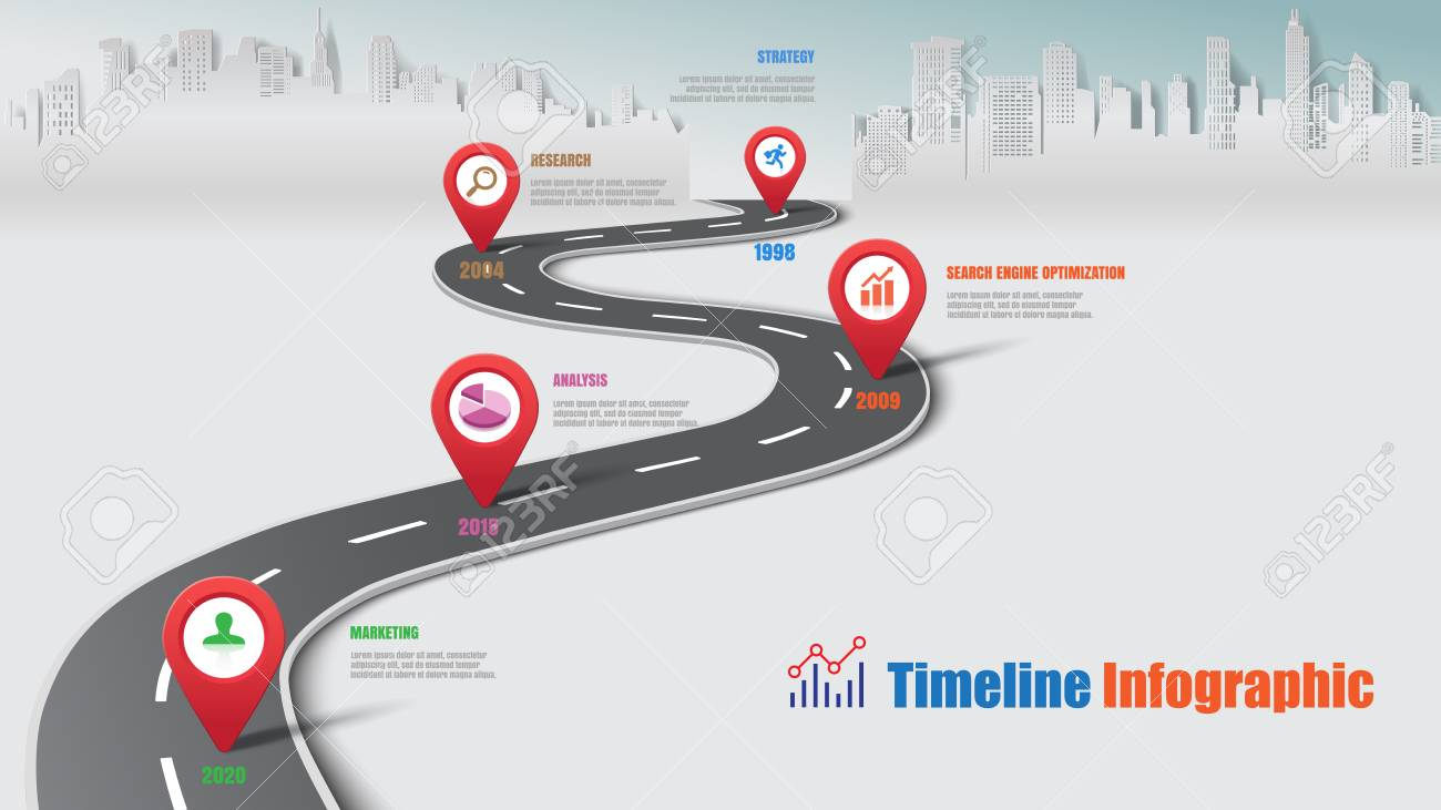 Business road map timeline infographic city designed for abstract background template milestone element modern diagram process technology digital marketing data presentation chart Vector illustration - 103768302