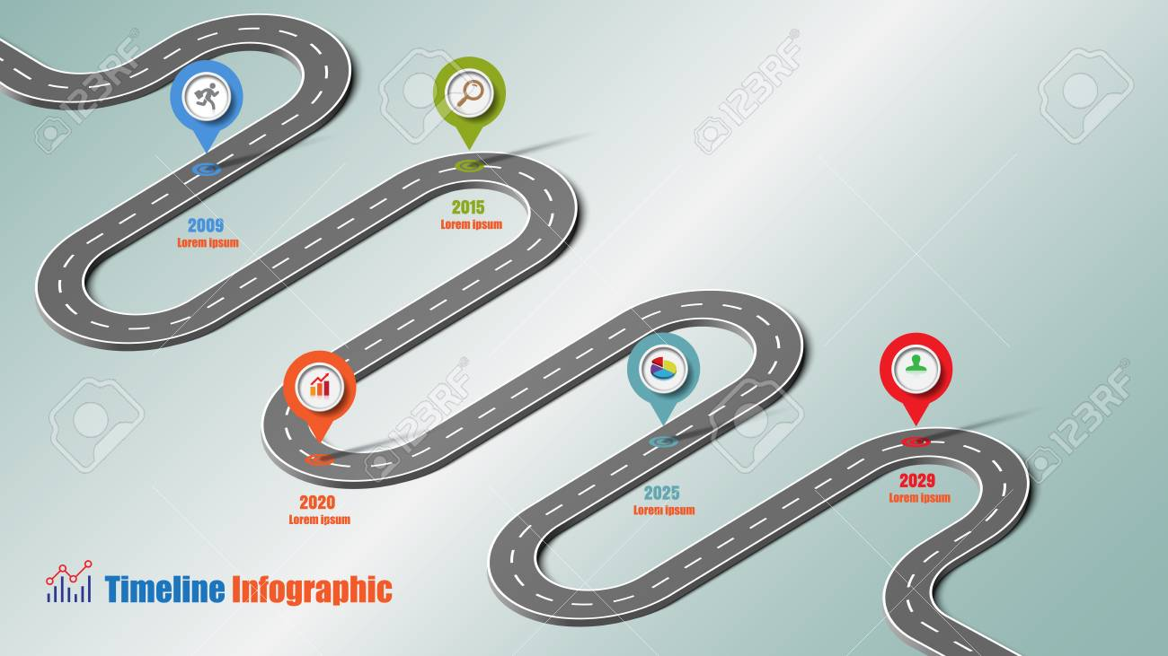 Business road map timeline infographic icons designed for abstract background template milestone element modern diagram process technology digital marketing data presentation chart Vector illustration - 115033461