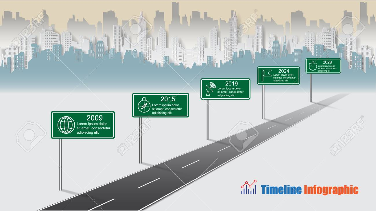 Business road map timeline infographic city designed for abstract background template milestone element modern diagram process technology digital marketing data presentation chart Vector illustration - 114960621