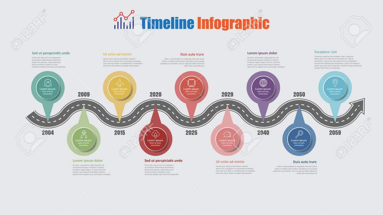 Road map business timeline infographic with 9 step pins designed for abstract background elements diagram planning process web pages digital technology data presentation chart. Vector illustration - 114960622