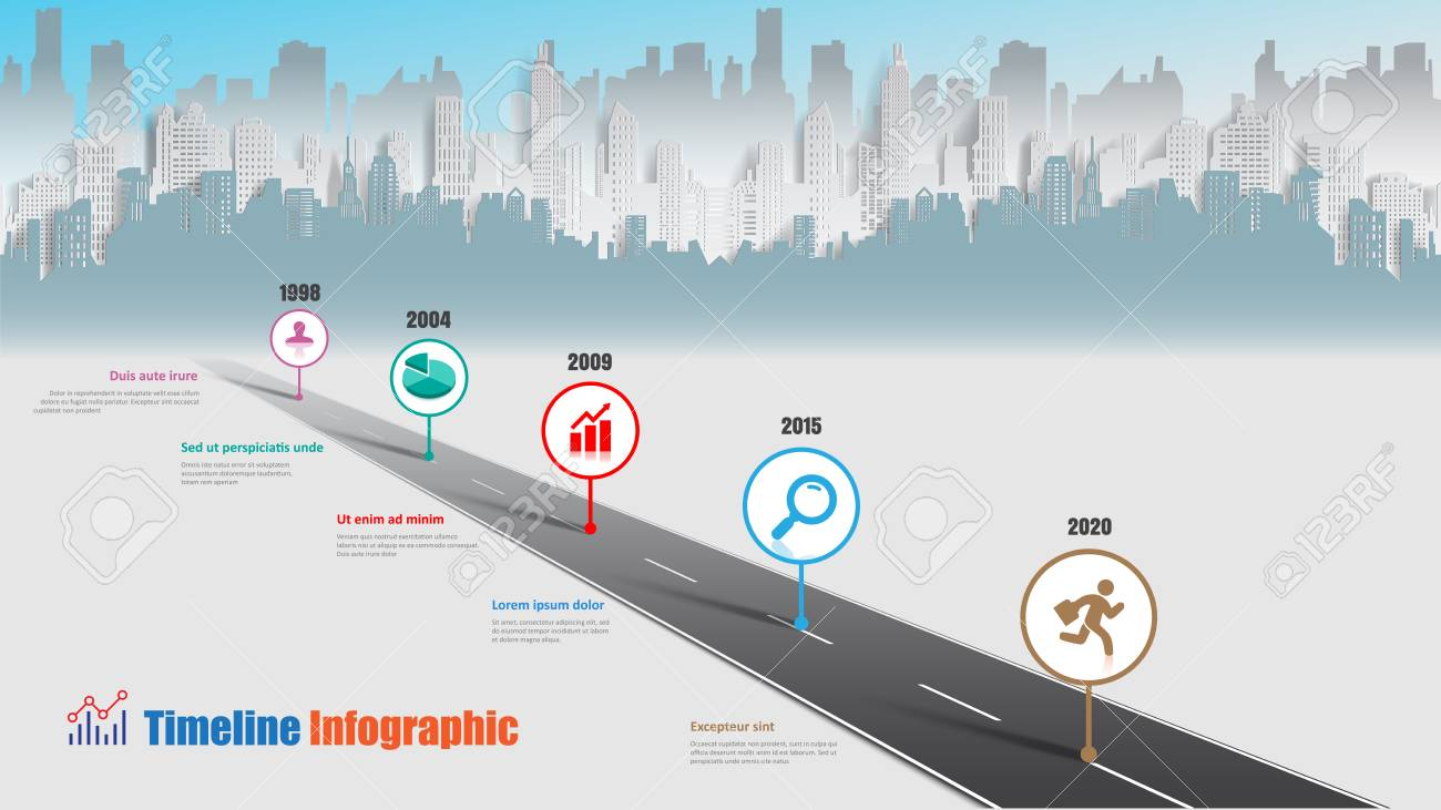 Business road map timeline infographic city designed for abstract background template milestone element modern diagram process technology digital marketing data presentation chart Vector illustration - 114777142