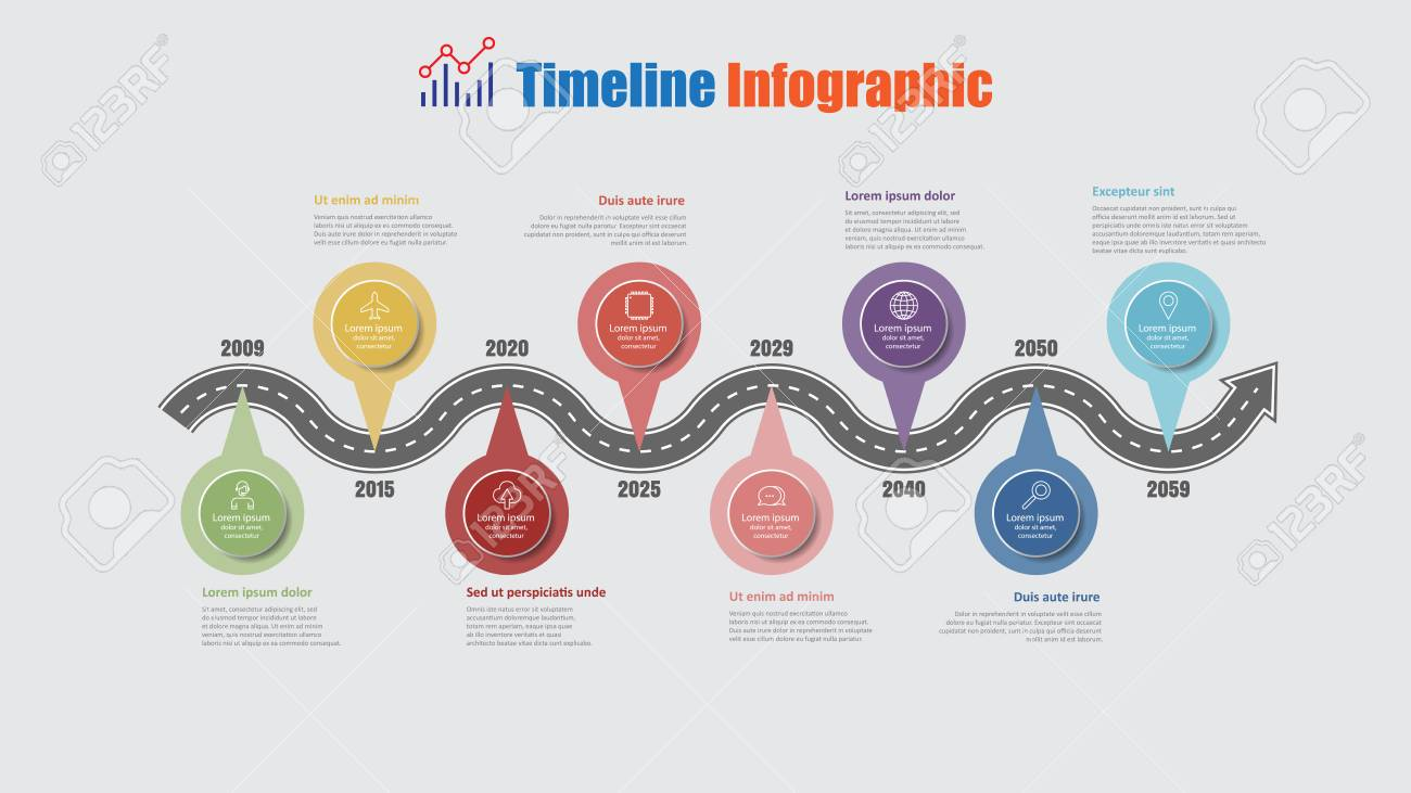 Road map business timeline infographic with 8 step pins designed for abstract background elements diagram planning process web pages digital technology data presentation chart. Vector illustration - 114777143