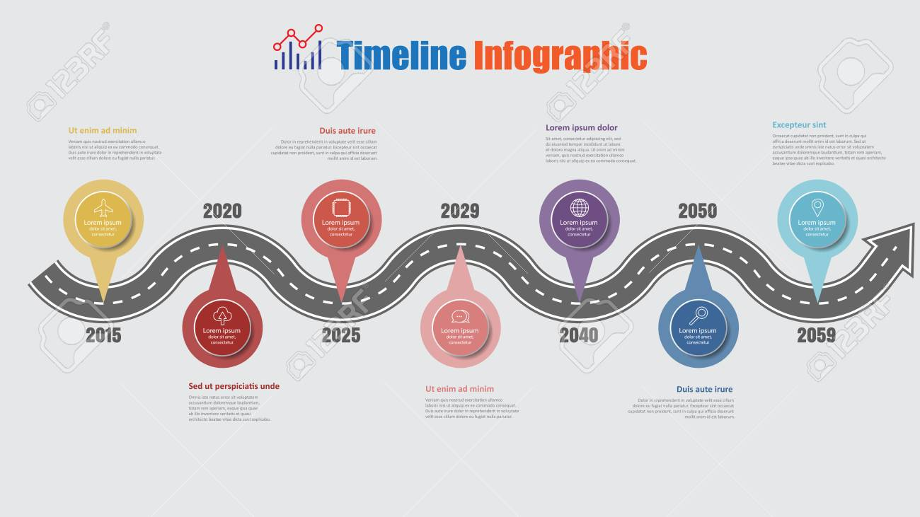 Road map business timeline infographic with 7 step pins designed for abstract background elements diagram planning process web pages digital technology data presentation chart. Vector illustration - 114777144