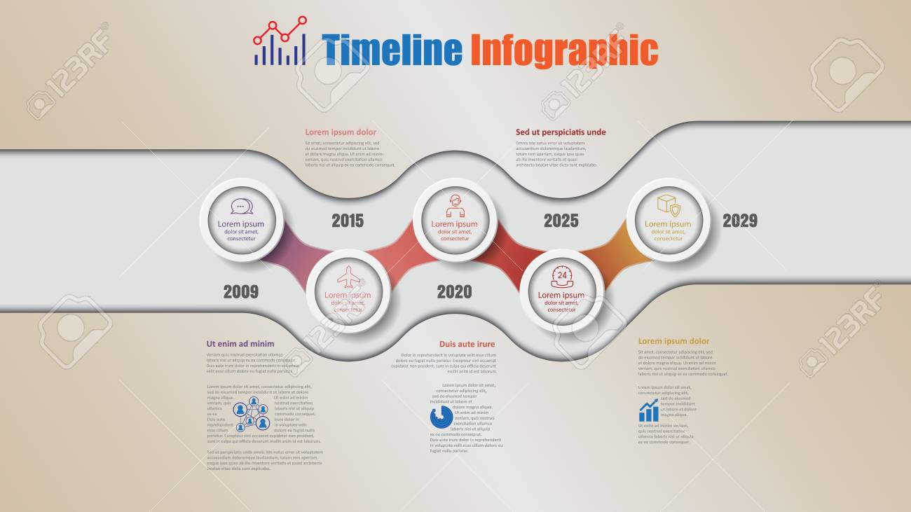 Road map business timeline infographic with 5 steps circle designed for background elements diagram planning process webpages workflow digital marketing data presentation chart. Vector illustration - 114710721