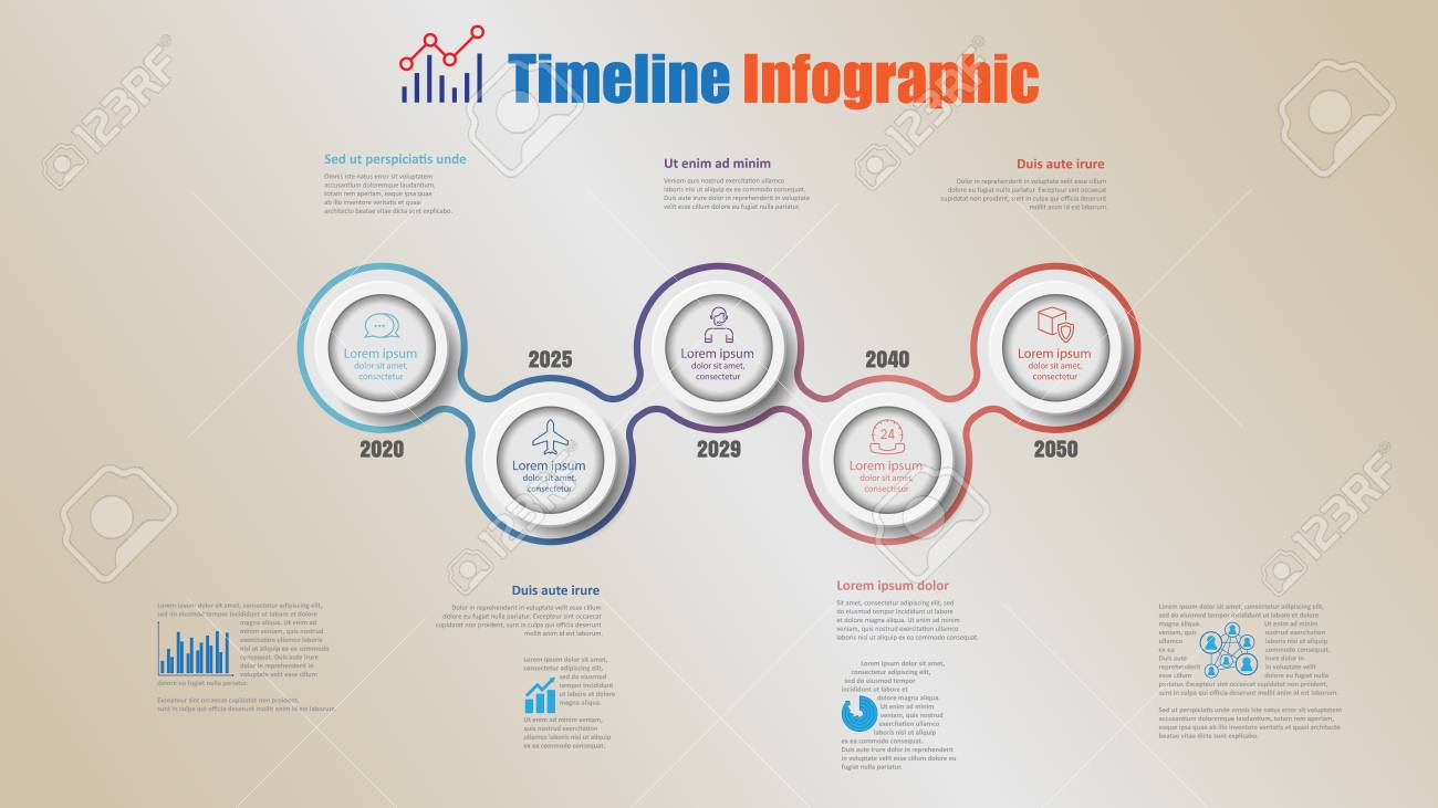 Road map business timeline infographic with 5 steps circle designed for background elements diagram planning process webpages workflow digital marketing data presentation chart. Vector illustration - 111975115