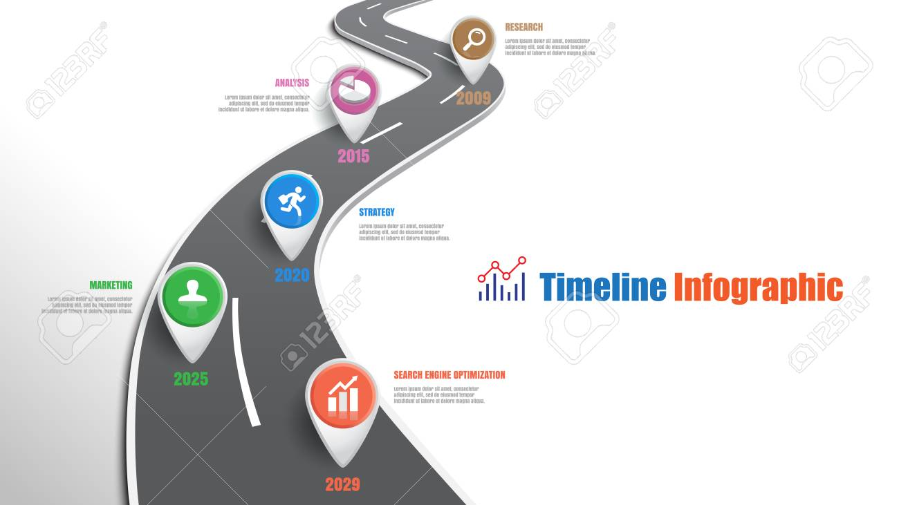 Business road map timeline infographic template with pointers designed for abstract background milestone modern diagram process technology digital marketing data presentation chart Vector illustration - 111975116