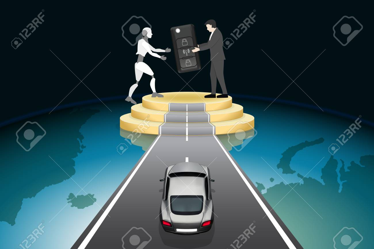 Artificial Intelligence futuristic technology innovative concepts, self-driving autopilot in near future. Businessman give car keys to robot on road podium with supercar, abstract vector illustration. - 111889750