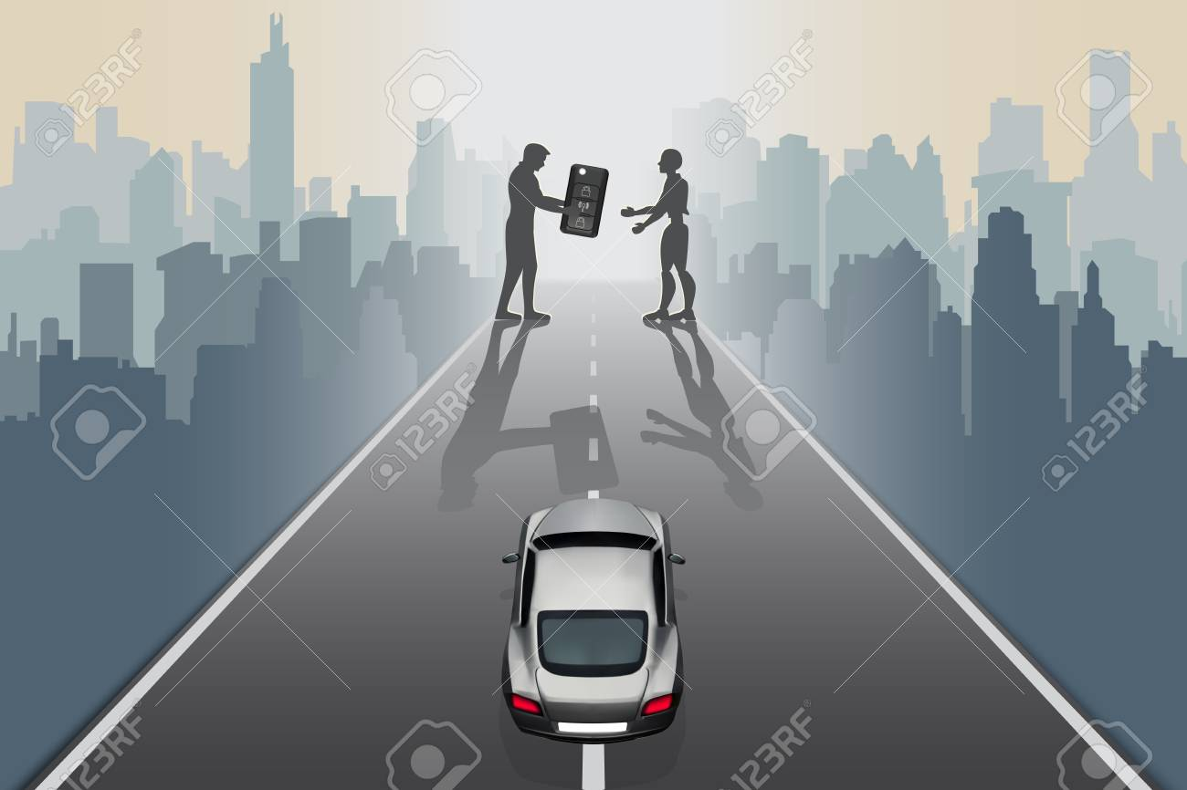 Artificial Intelligence futuristic technology innovative concepts self-driving autopilot in near future. Silhouette of design man give supercar keys to robot on city road, abstract vector illustration - 111889752