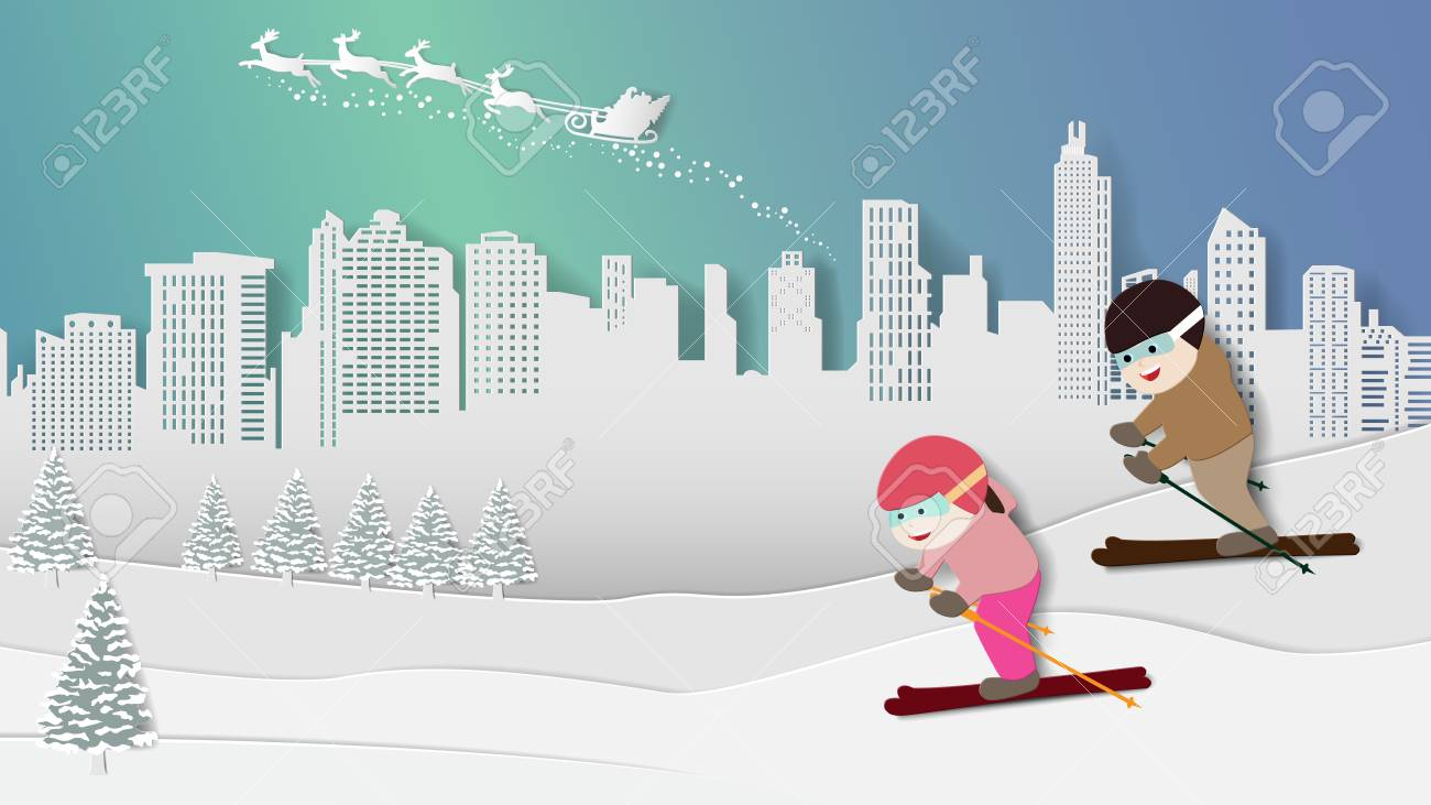 Paper folding art origami style vector illustration. Merry Christmas Happy New Year. Children are enjoying skiing in winter snow, night aurora lights sky with santa claus reindeer over city background - 110354228