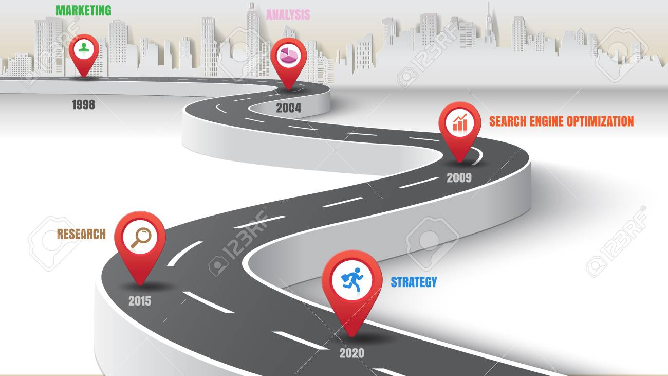 Business road map timeline infographic expressway concepts city designed for abstract background template milestone diagram process technology marketing data presentation chart. Vector illustration - 107592241