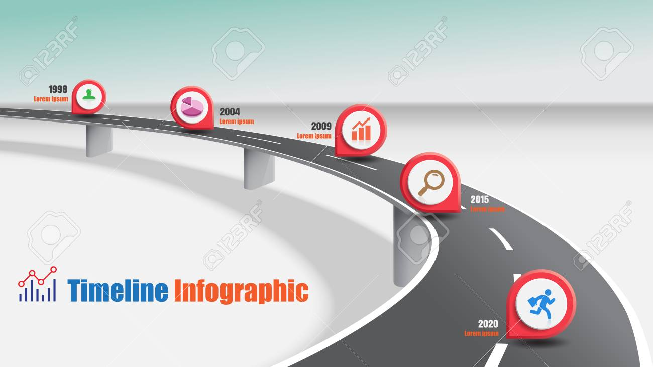 Business road map timeline infographic expressway concepts designed for abstract background template milestone diagram process technology digital marketing data presentation chart Vector illustration - 111886454