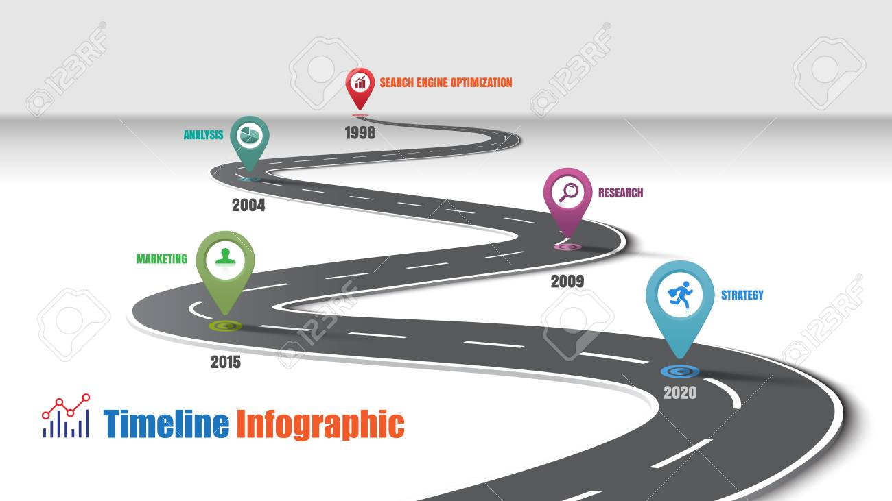 Business road map timeline infographic template with pointers designed for abstract background milestone modern diagram process technology digital marketing data presentation chart Vector illustration - 111886455