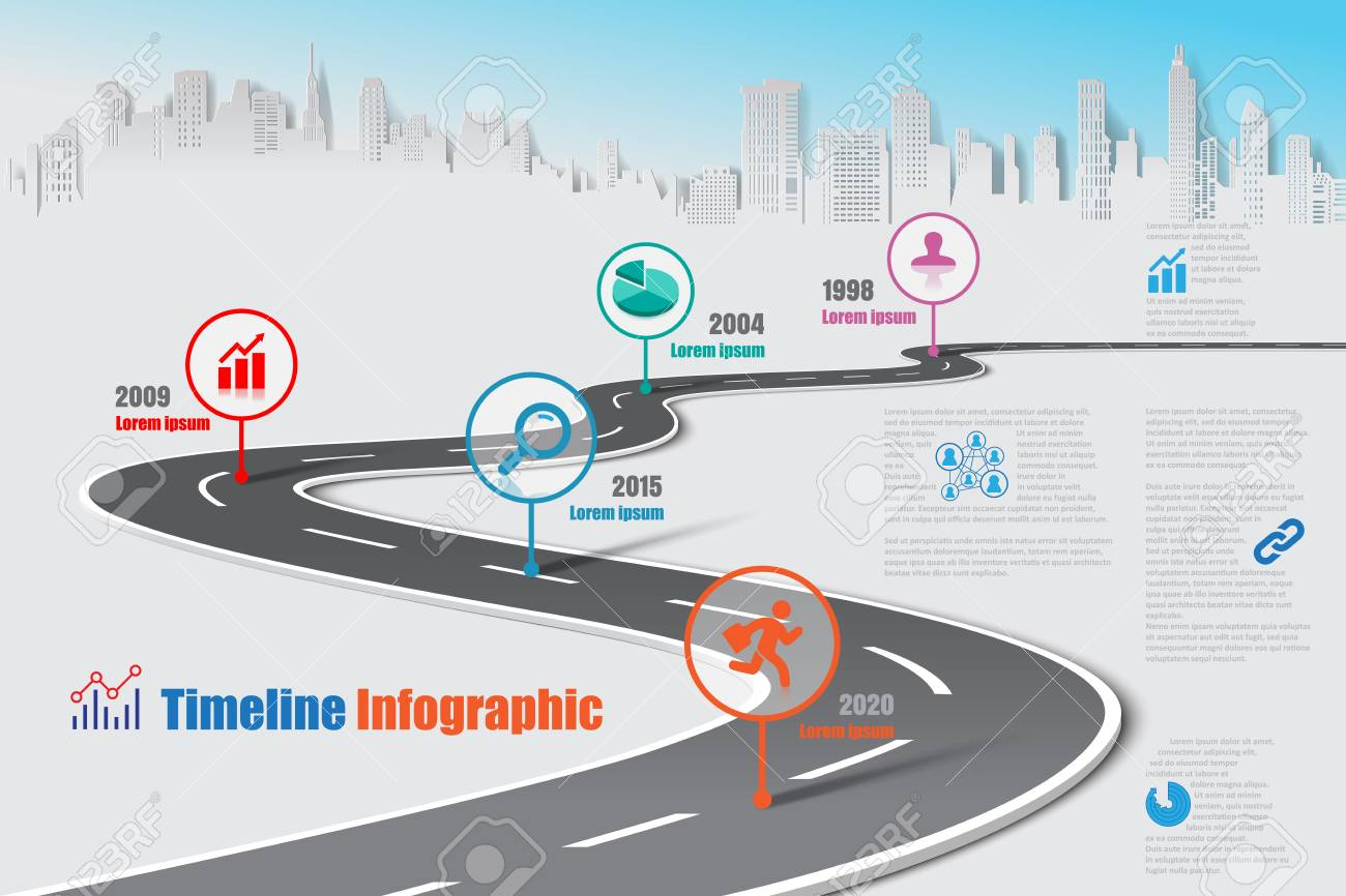 Business road map timeline infographic city designed for abstract background template milestone element modern diagram process technology digital marketing data presentation chart Vector illustration - 111886456
