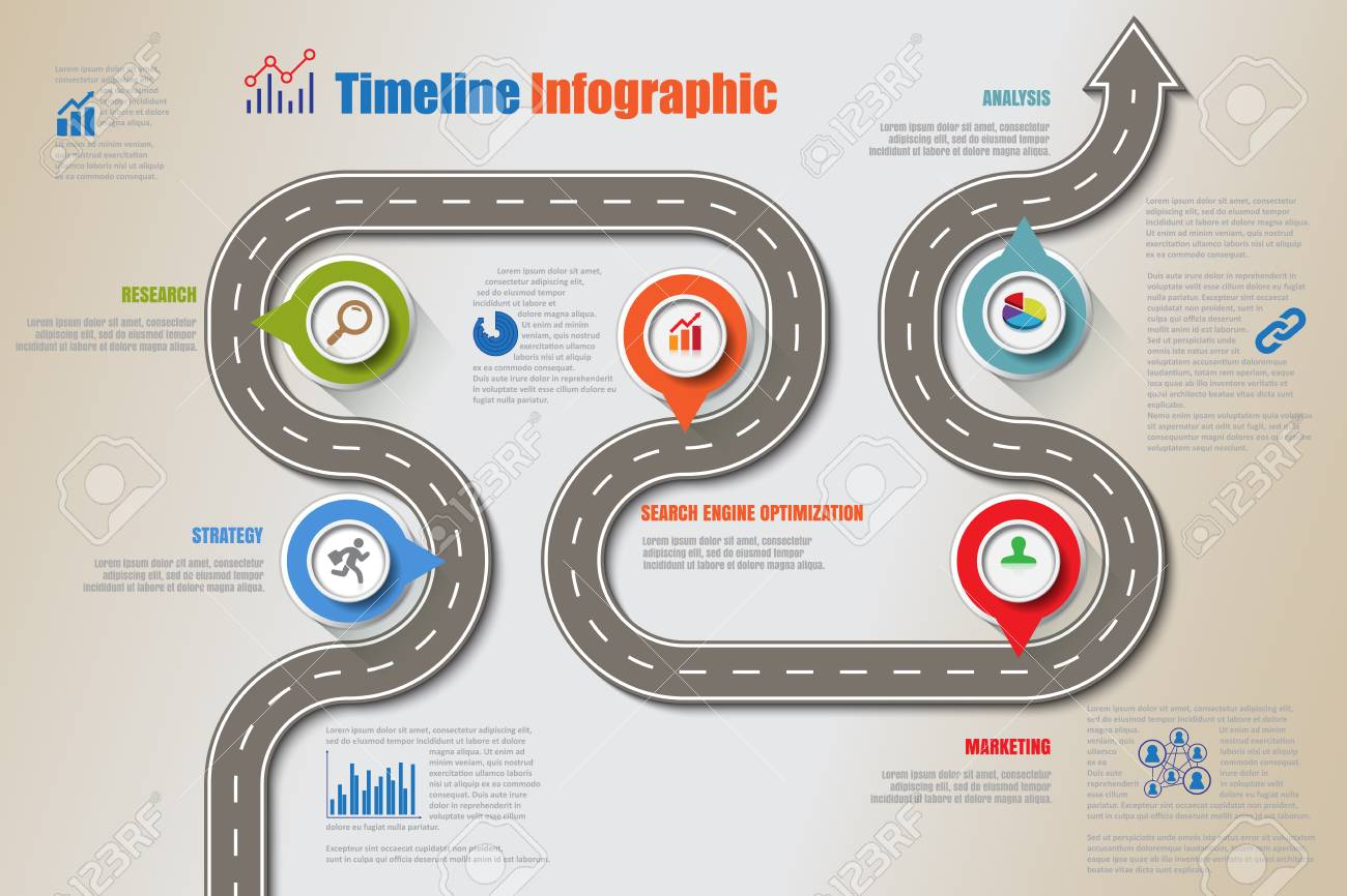Business road map timeline infographic icons designed for abstract background template milestone element modern diagram process technology digital marketing data presentation chart Vector illustration - 111886458
