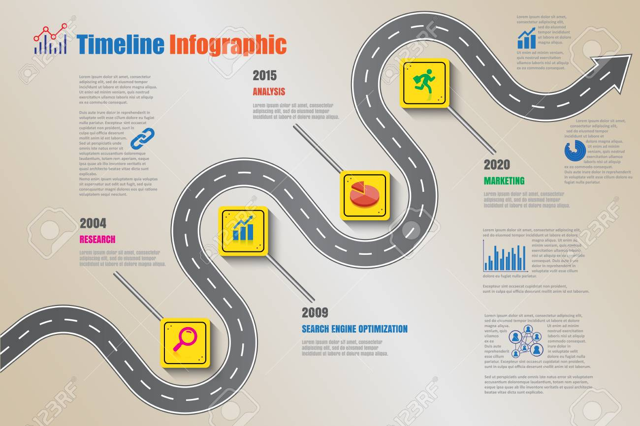Business road signs map timeline infographic designed for abstract background template milestone element modern diagram process technology digital marketing data presentation chart Vector illustration - 111886459