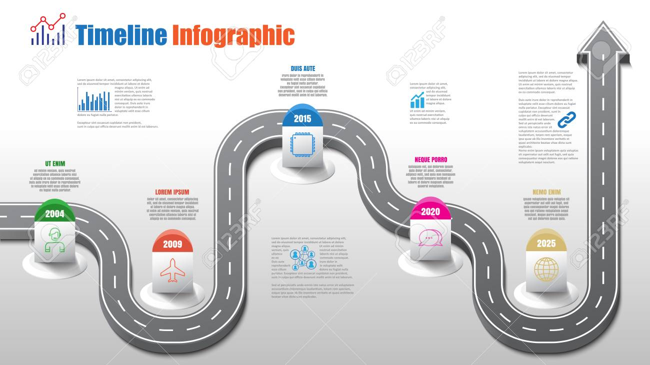 Business road map timeline infographic template with pointers designed for abstract background milestone modern diagram process technology digital marketing data presentation chart Vector illustration - 111886462
