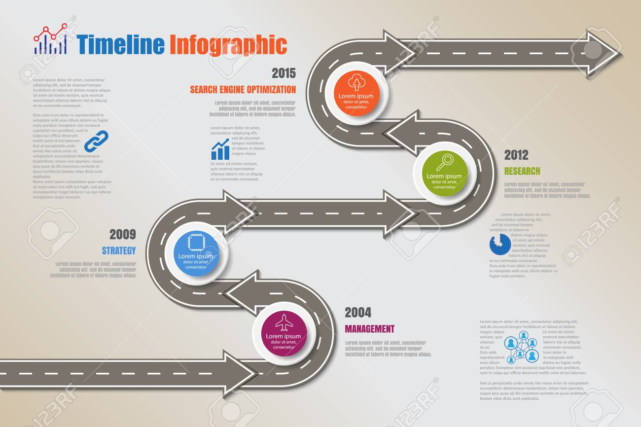Business road map timeline infographic icons designed for abstract background template milestone element modern diagram process technology digital marketing data presentation chart Vector illustration - 126262892