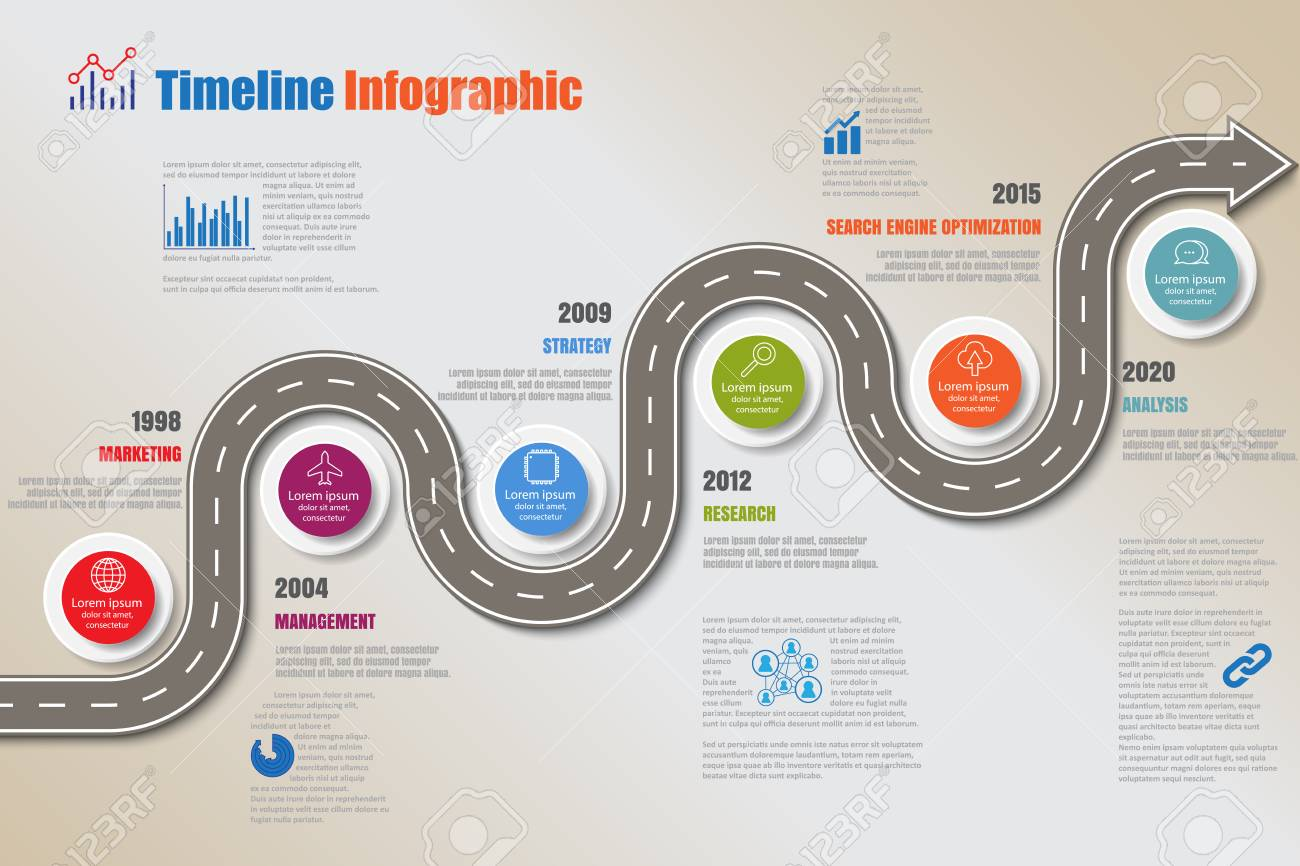 Business road map timeline infographic template with pointers designed for abstract background milestone modern diagram process technology digital marketing data presentation chart Vector illustration - 126262927