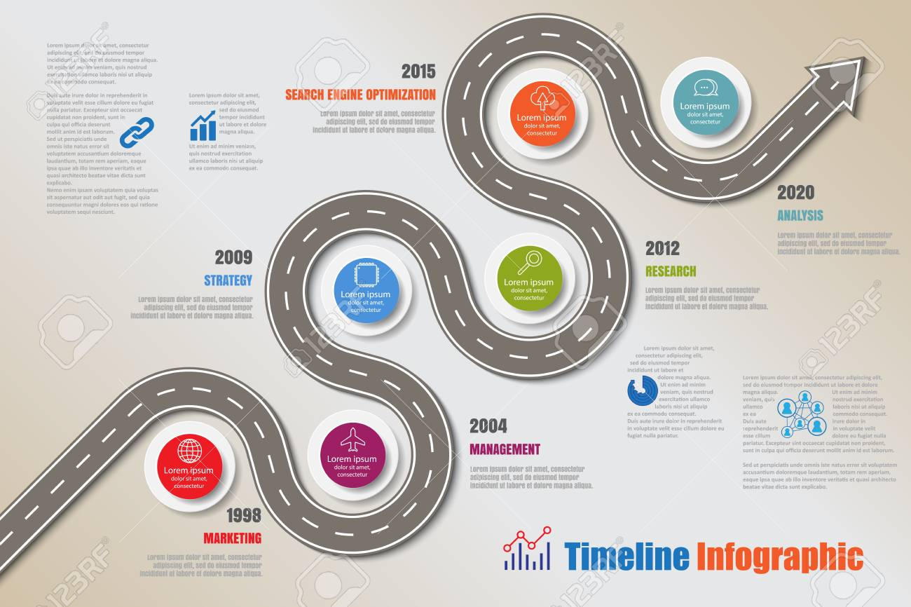 Business road map timeline infographic icons designed for abstract background template milestone element modern diagram process technology digital marketing data presentation chart Vector illustration - 127425860