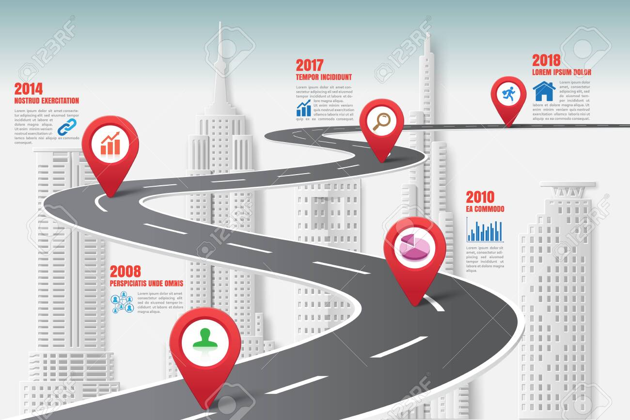 Business road map timeline infographic city designed for abstract background template milestone element modern diagram process technology digital marketing data presentation chart Vector illustration - 131349576