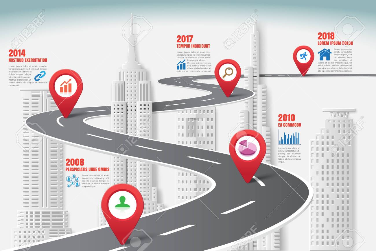 Business road map timeline infographic city designed for abstract background template milestone element modern diagram process technology digital marketing data presentation chart Vector illustration - 131349592