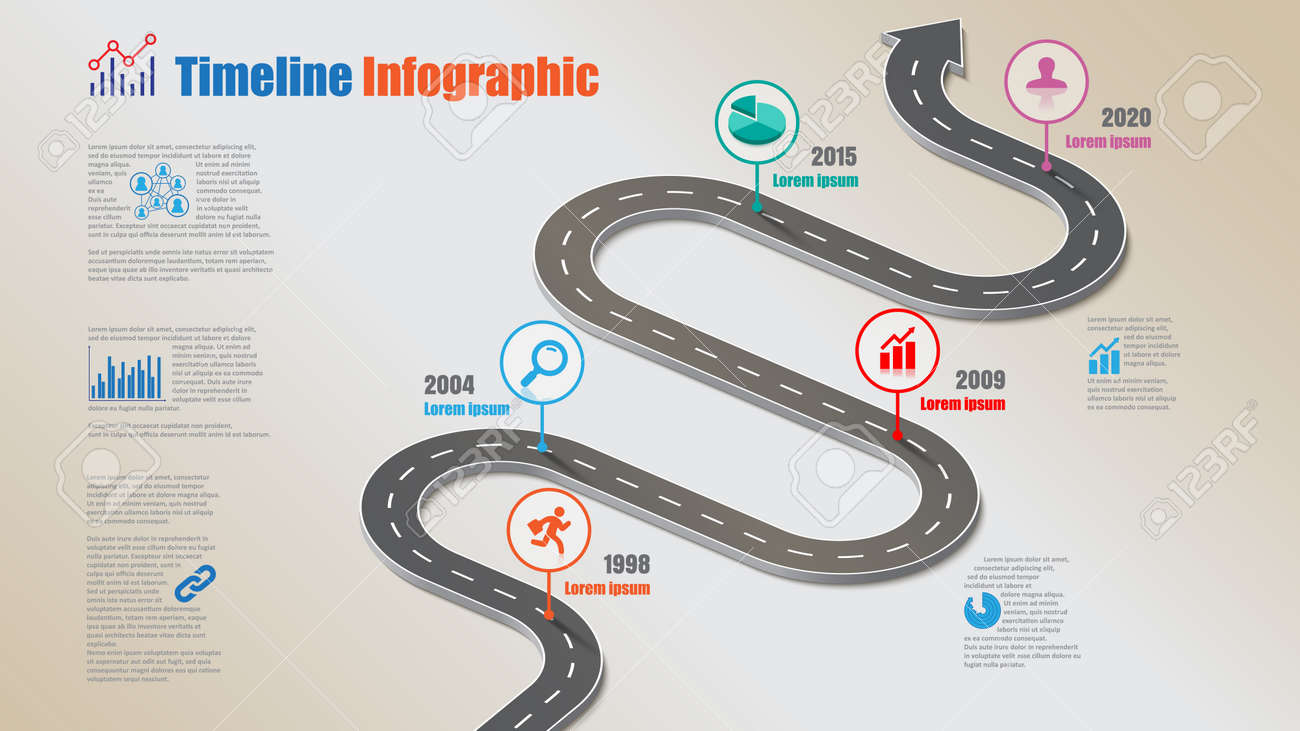 Business road map timeline infographic template with pointers designed for abstract background milestone modern diagram process technology digital marketing data presentation chart Vector illustration - 153898880