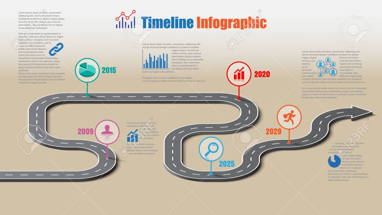 Business road map timeline infographic template with pointers designed for abstract background milestone modern diagram process technology digital marketing data presentation chart Vector illustration - 154045099