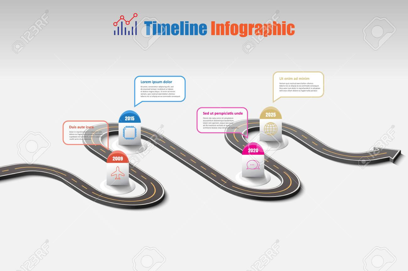 Business road map timeline infographic template with pointers designed for abstract background milestone modern diagram process technology digital marketing data presentation chart Vector illustration - 154045453