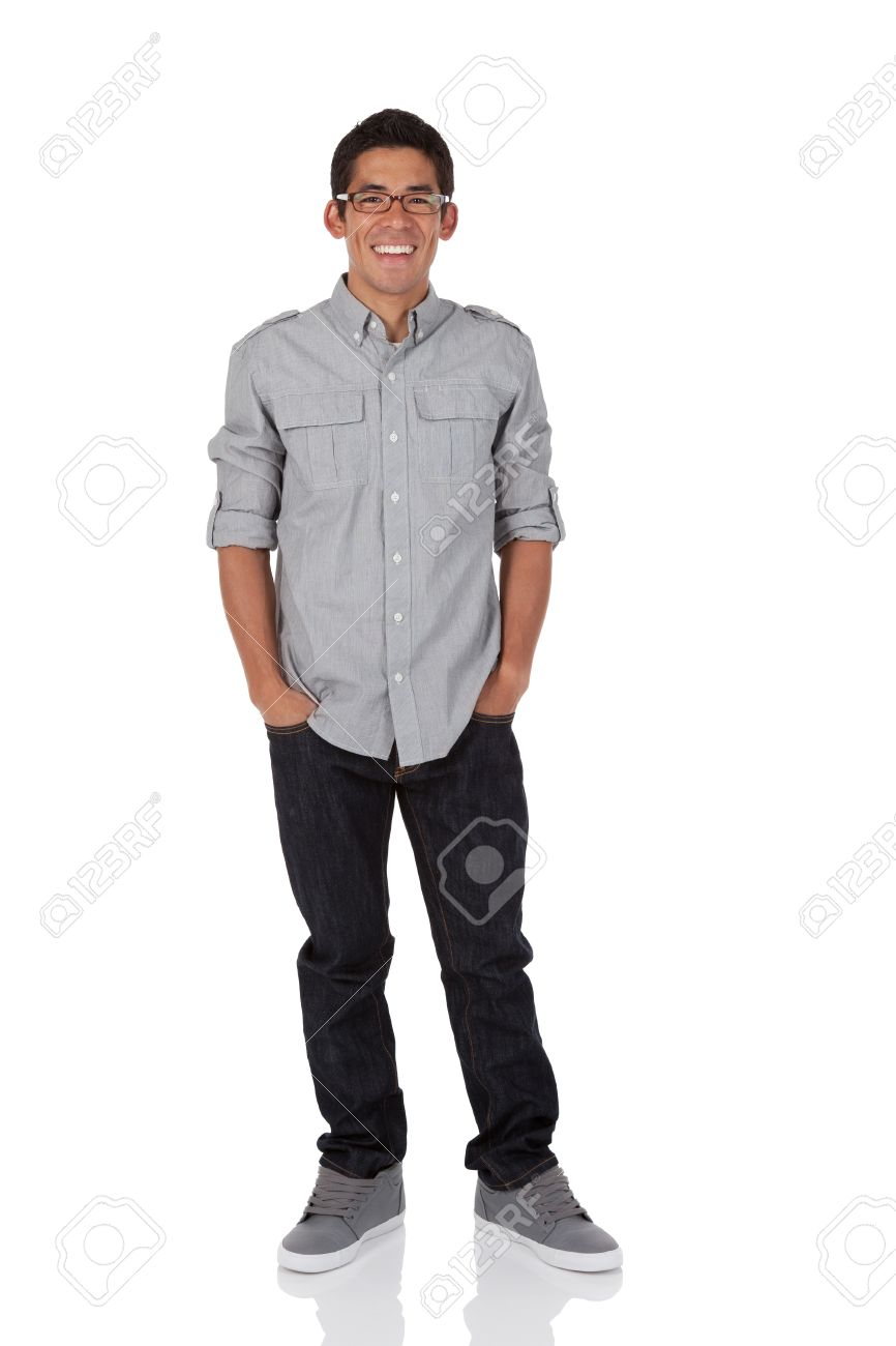 Brand-new Collage Age Man Standing With Hands In Pockets Stock Photo  QJ04