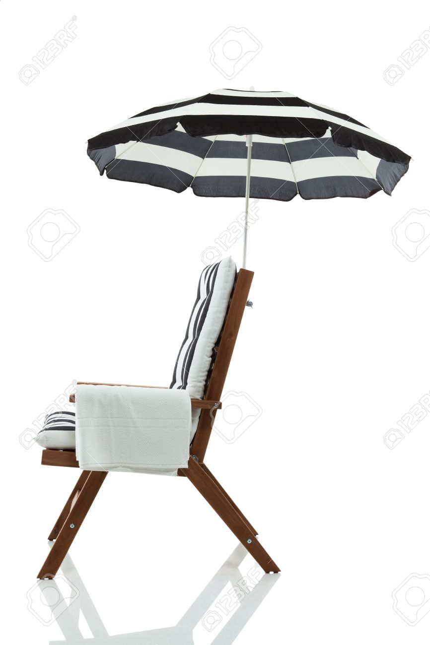 Beach lounge chair side view - Beach Chair With Umbrella And Towel Isolated On White Stock Photo 17675435