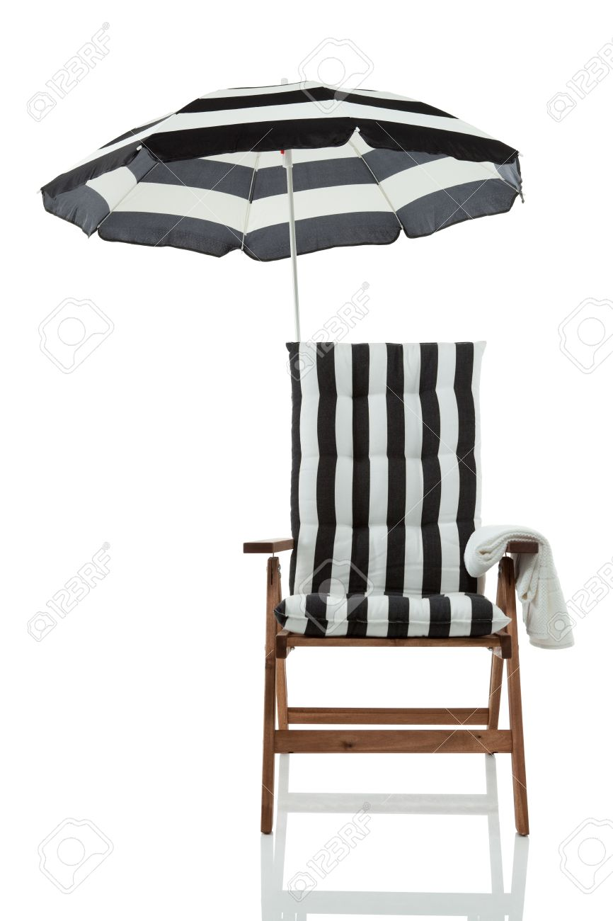 Beach Chair With Umbrella And Towel Front View Isolated On White Stock  Photo   17675442