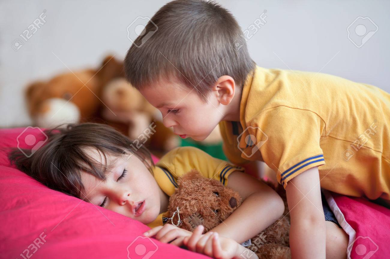 Sweet little boy sleeping in the afternoon with his teddy bear sweet little boy sleeping in the afternoon with his teddy bear toy his brother thecheapjerseys Images