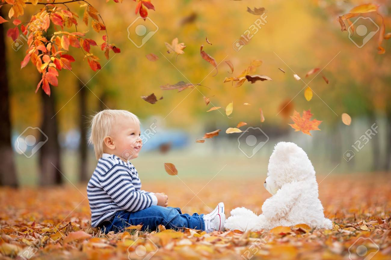 Little toddler baby boy, playing with teddy bear in the autumn park, throwing leaves around himself - 113427213