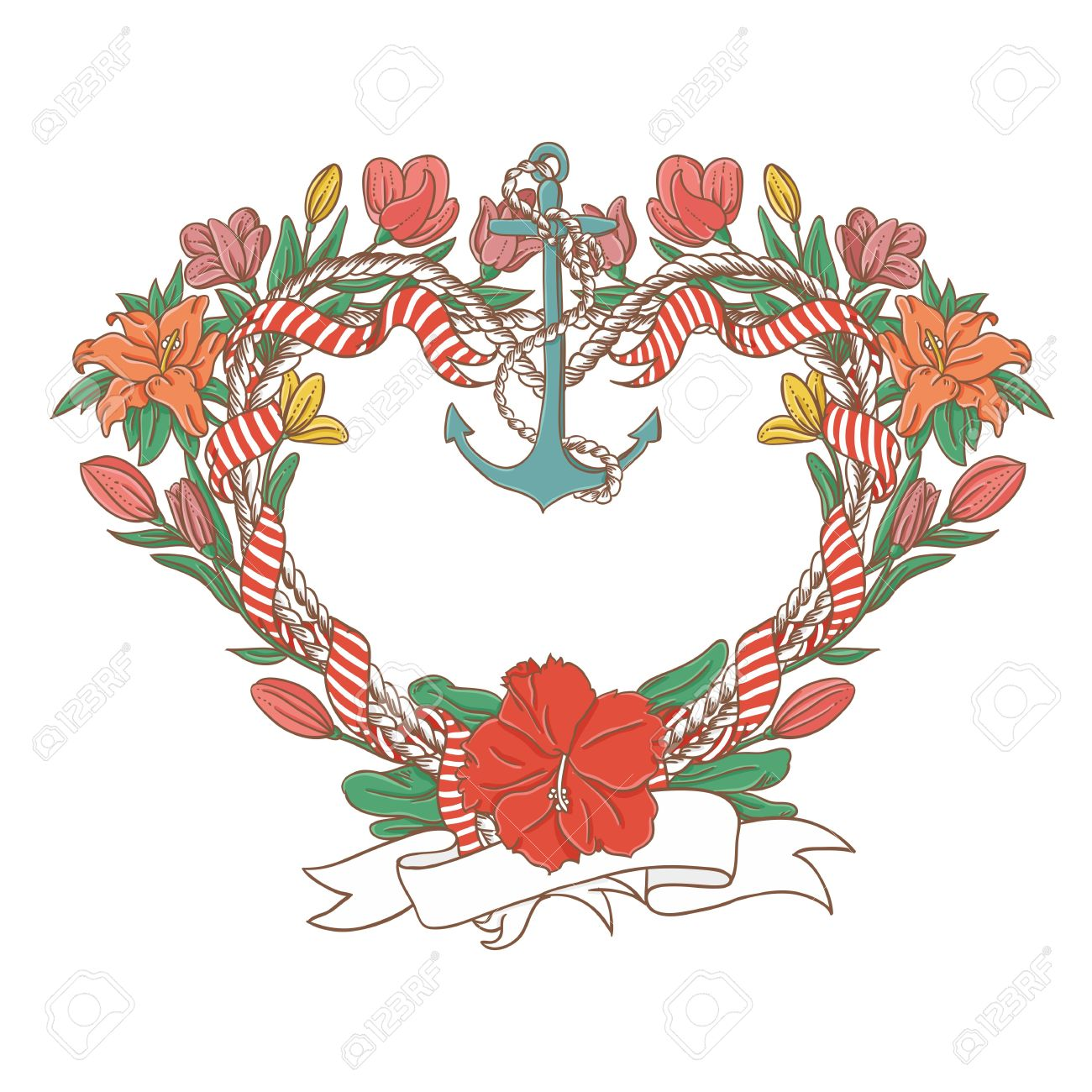 Heart shaped frame with marine elements Stock Vector - 13414616