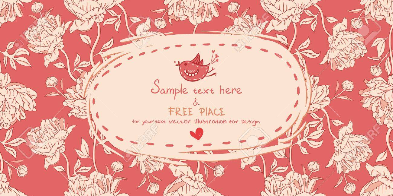 Invitation vintage card with peony flowers on red background Stock Vector - 13843001