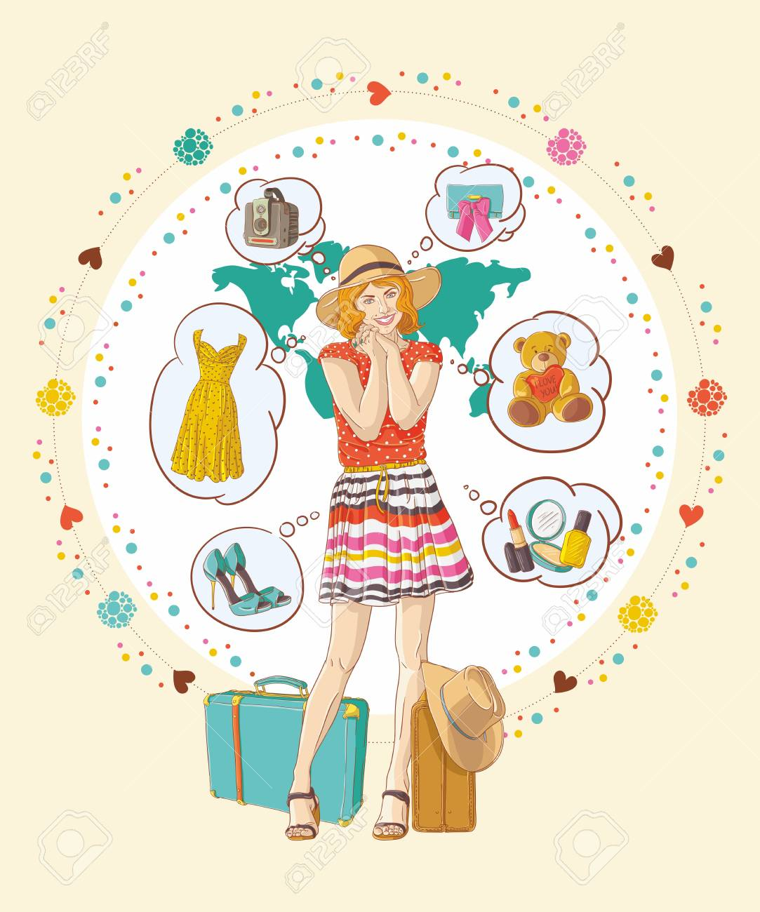 Pretty girl with banners was thinking about buying Stock Vector - 15010217