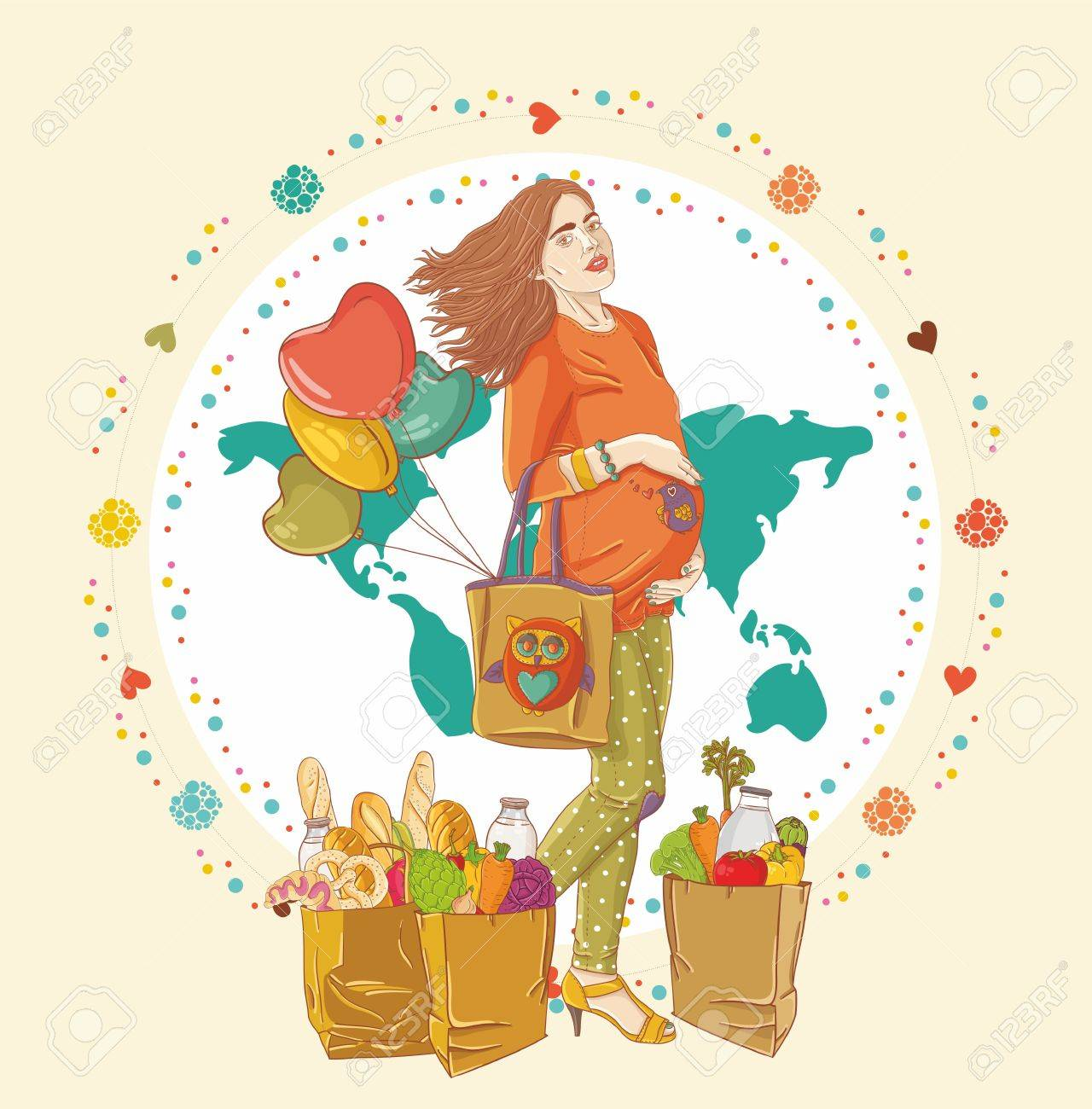 Young pregnant woman, stay with shopping bag full of groceries and holding a  balloons Stock Vector - 16162734