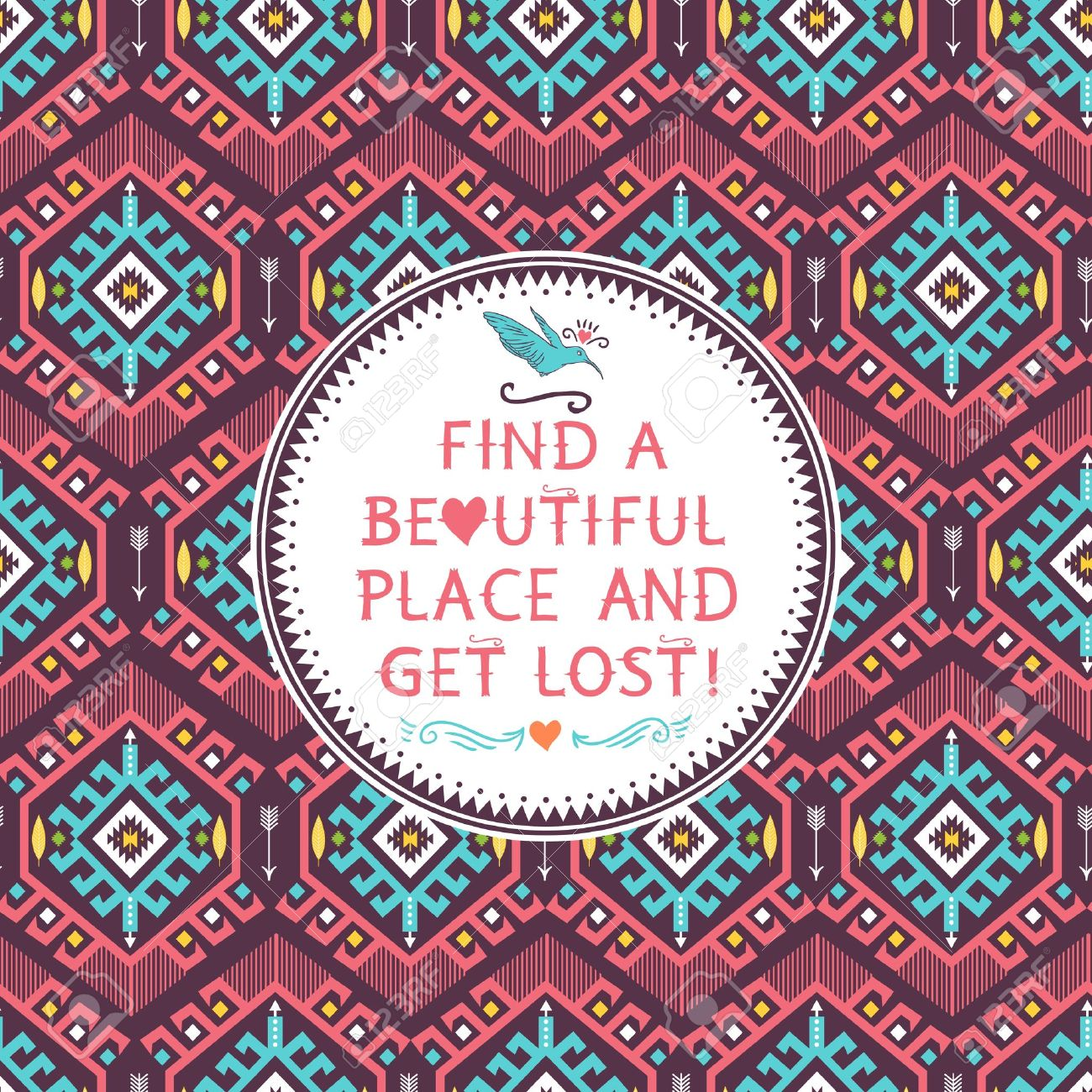 motif marocain Hippie motif tribal coloré transparente avec des éléments géométriques et cite le texte