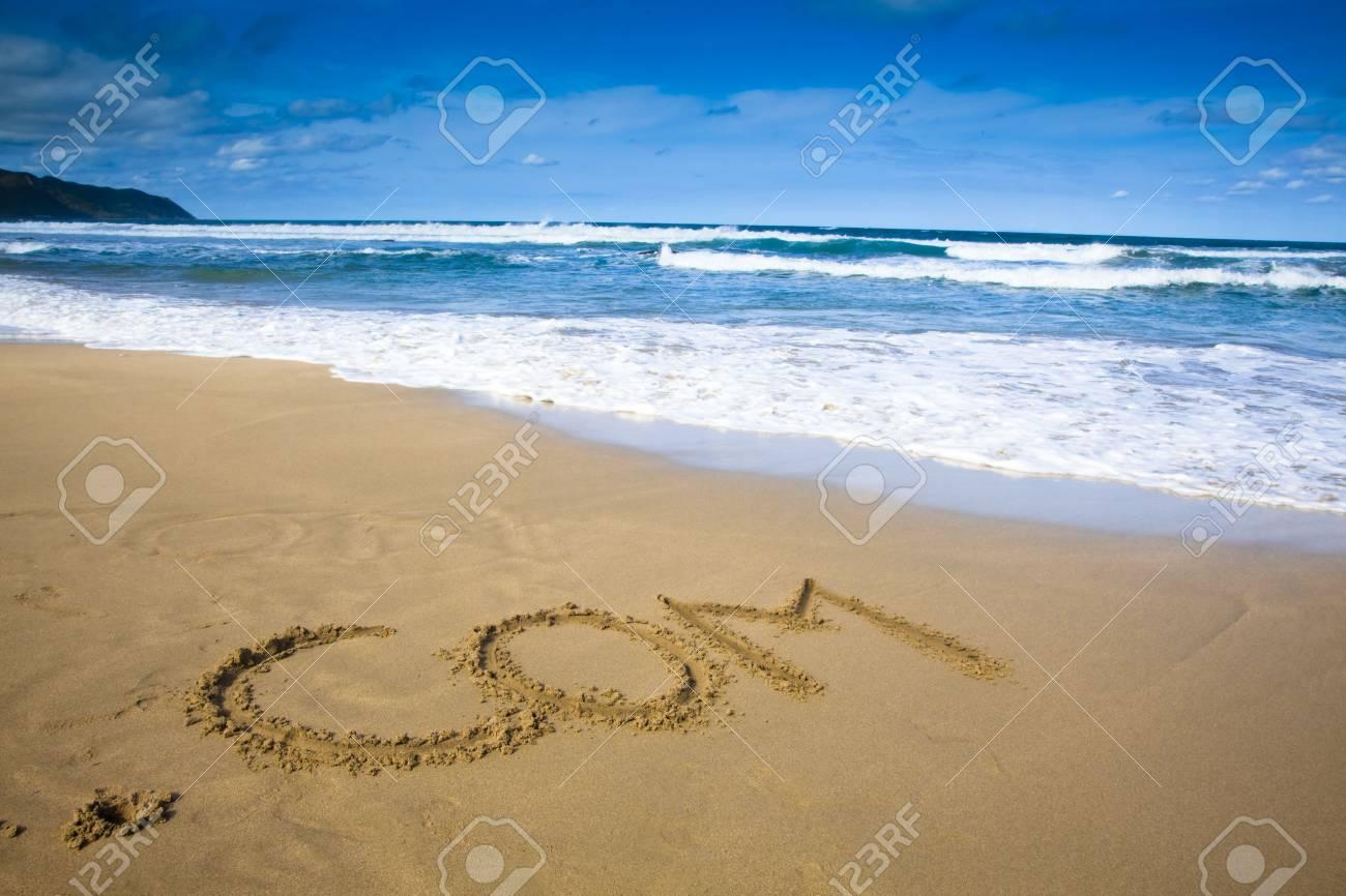 internet company sign draw on beach Stock Photo - 6996371