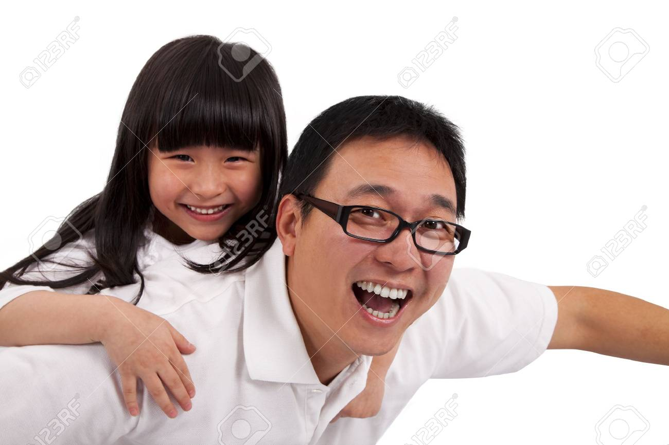 Daughter on  father's shoulders having fun Stock Photo - 8564540
