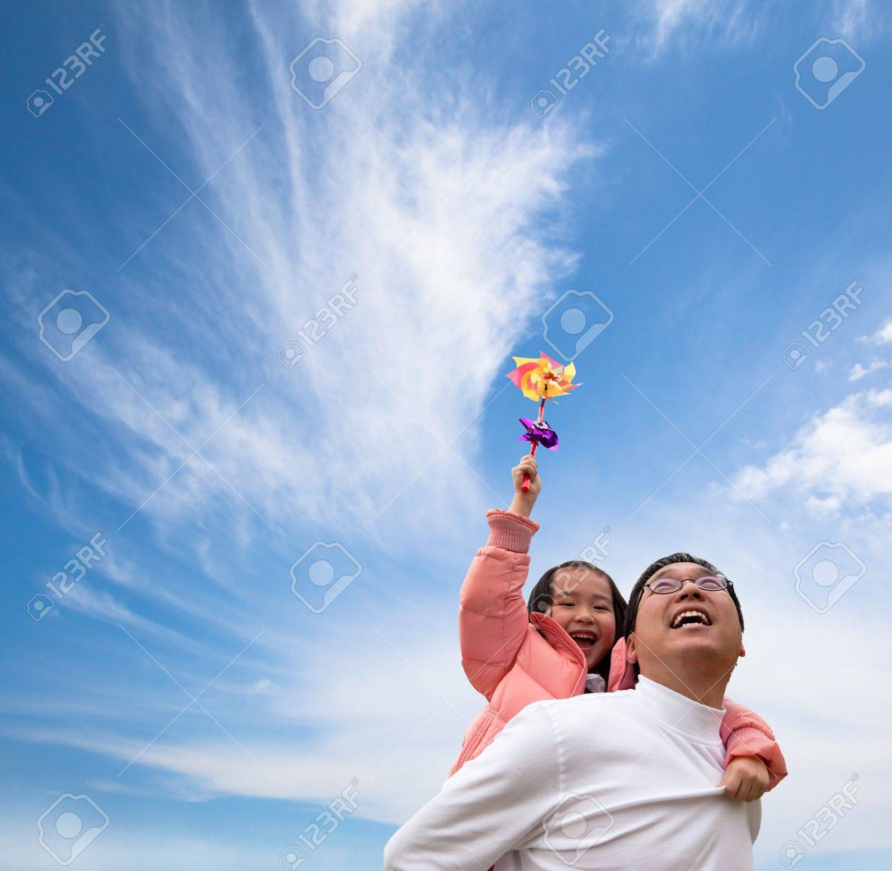 Happy girl and father with cloud  background Stock Photo - 8613140