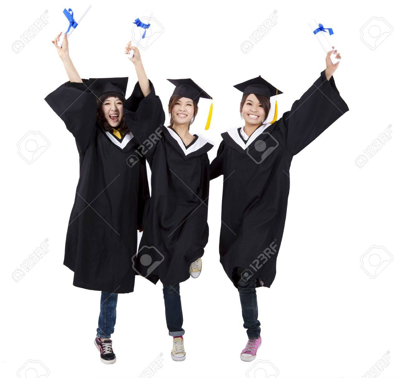happy group of  graduation girls holding their diploma Stock Photo - 9653753