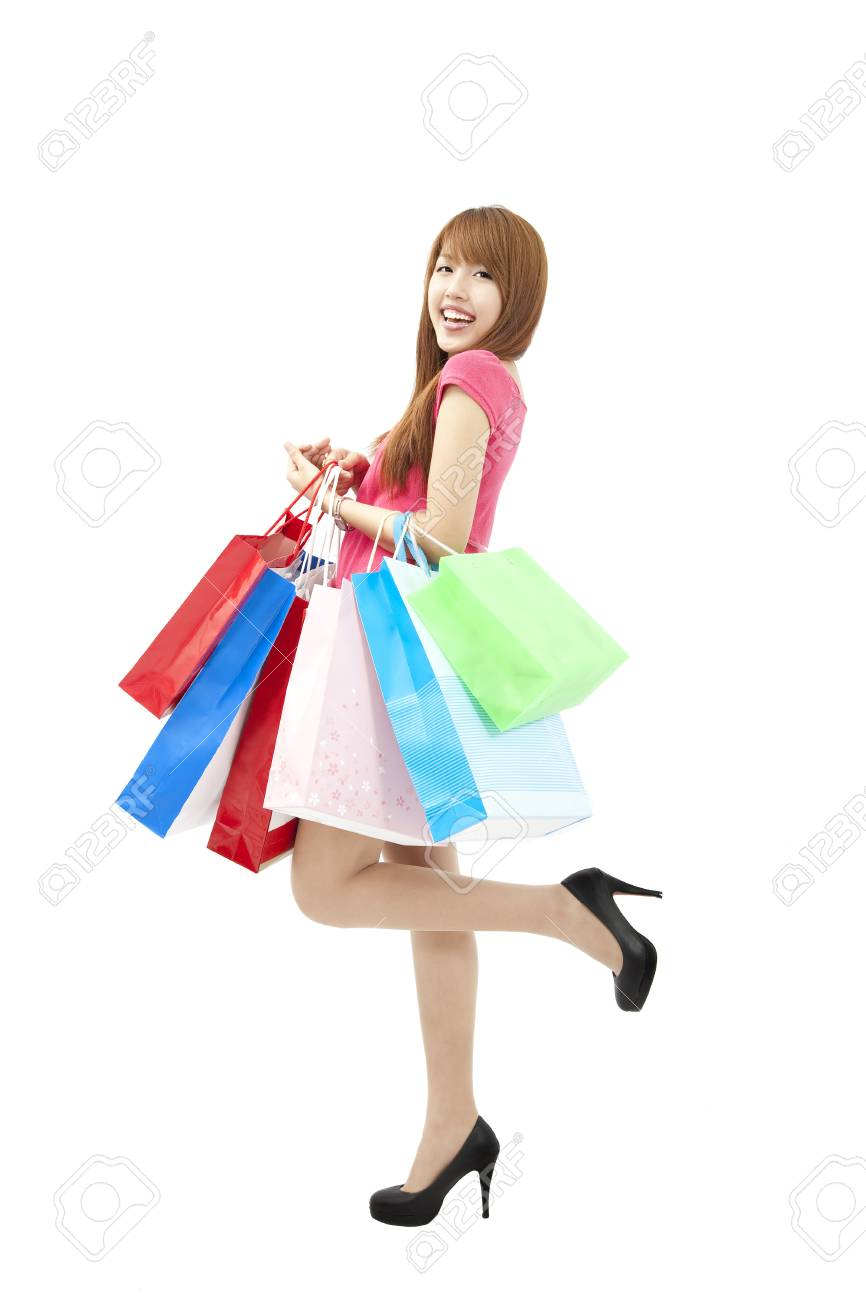 happy Beautiful woman with a lot of shopping bags Stock Photo - 9999625