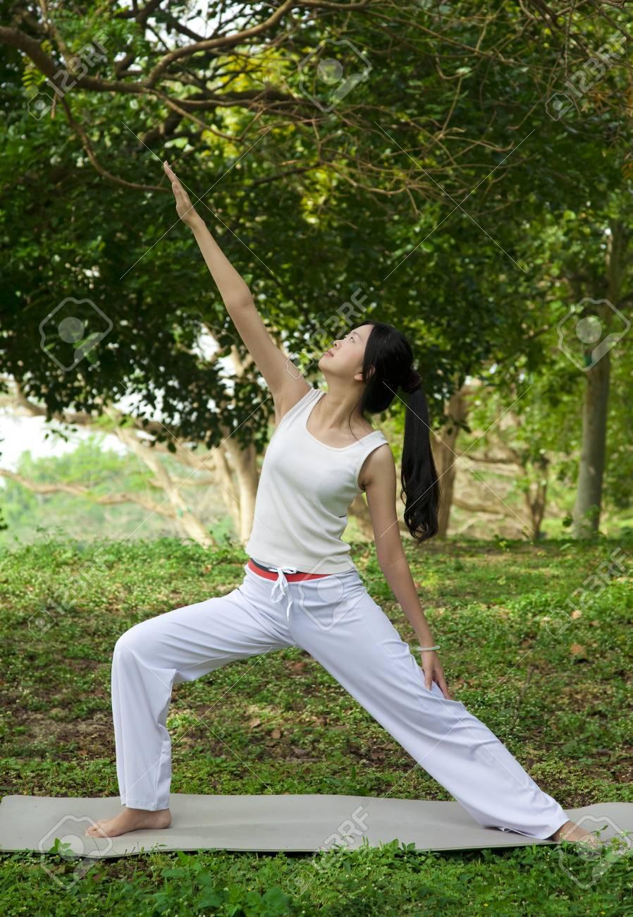 yoga woman on green grass Stock Photo - 12376967