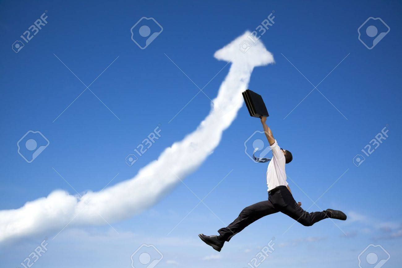 jumping businessman with business growing graph  cloud Stock Photo - 13042556