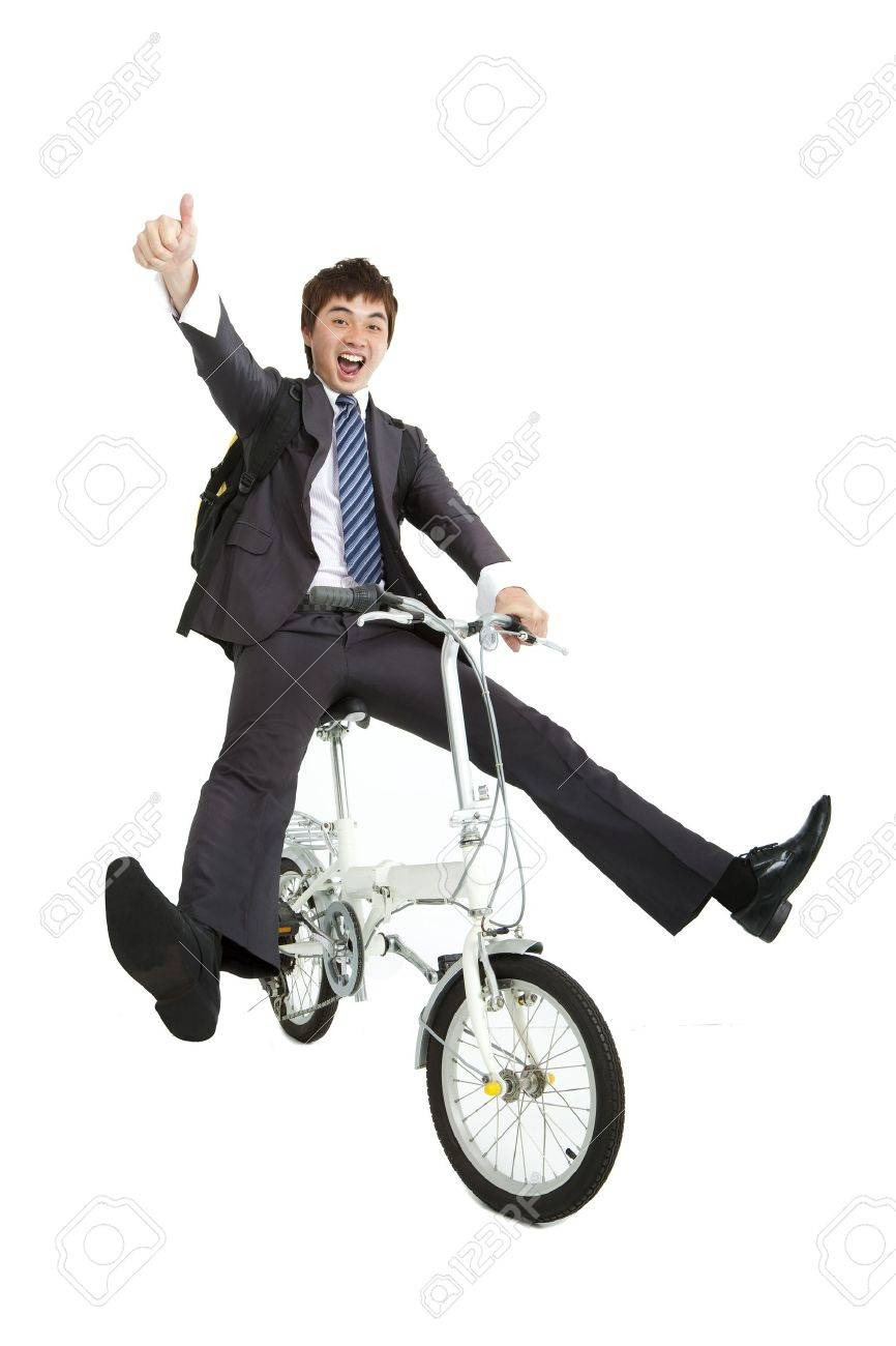 Happy asian  businessman on a bicycle isolated on white background Stock Photo - 13208382