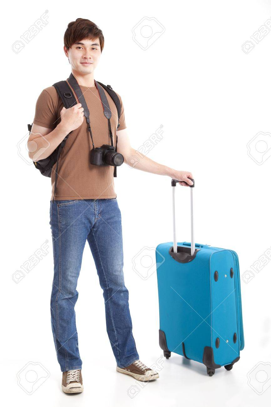 full length of young traveler with suitcase Stock Photo - 14099225