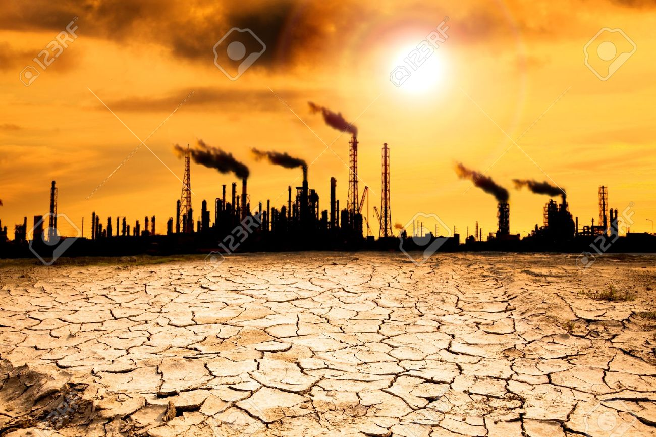 Refinery with smoke and global warming concept - 14349760